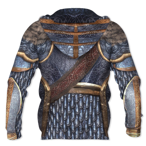 1stIceland Viking Pullover Hoodie, 3D Vikings MIithril Armor with Wolf TH5 - 1st Iceland