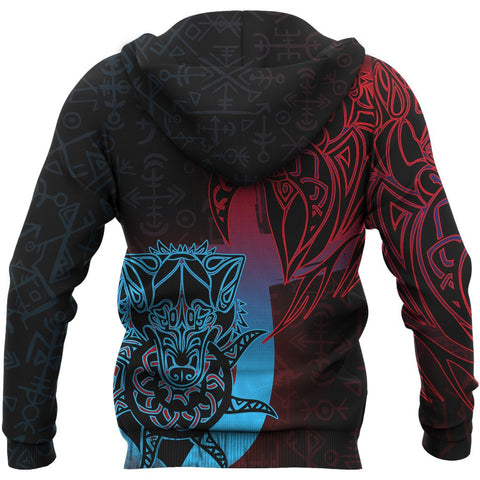 1stIceland Viking Pullover Hoodie, Fenrir Runes Tattoo A02 - 1st Iceland