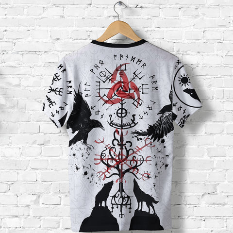 1stIceland Viking T-Shirts, Vegvisir Hugin and Munin with Fenrir Yggdrasil K4 - 1st Iceland