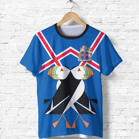 Image of 1stIceland T-Shirt, Icelandic Puffin Coat Of Arms K7 - 1st Iceland