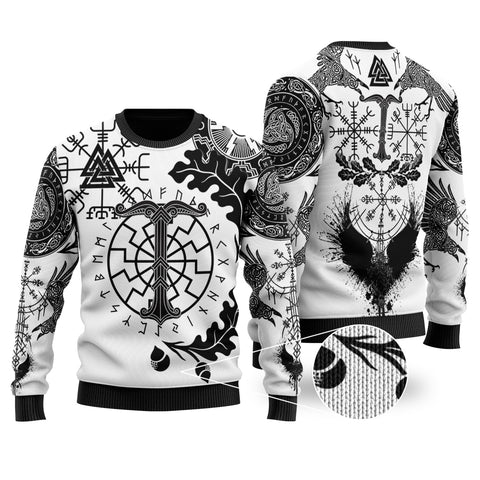 1stIceland Viking Oak Leaf 100% Wool Material Sweater Valknut Vegvisir With Irminsul - White