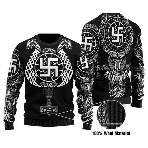 1stIceland Viking Swastika 100% Wool Material Sweater Sun Wheel With Mjolnir - Black K8 - 1st Iceland