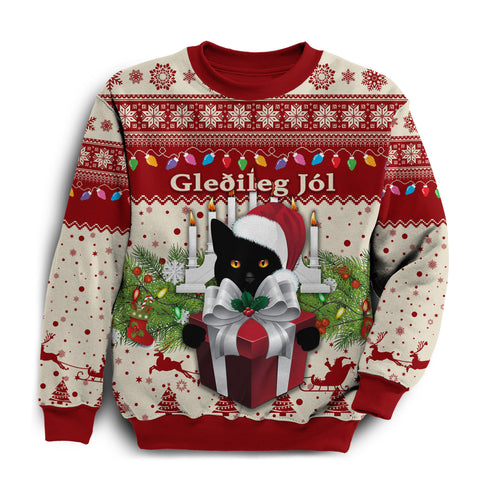 1stIceland Iceland Christmas Sweatshirt The Yule Cat Warm Vibes - Beige Red K8 - 1st Iceland