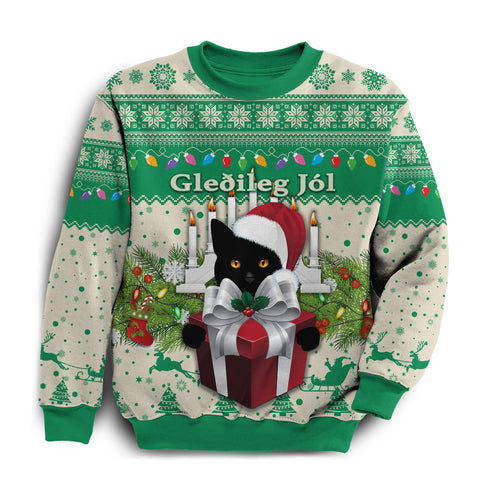Image of 1stIceland Iceland Christmas Sweatshirt The Yule Cat Warm Vibes - Beige Green K8 - 1st Iceland