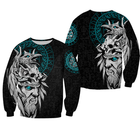 1stIceland Viking Odin And Raven Turquoise Sweatshirt TH12 - 1st Iceland