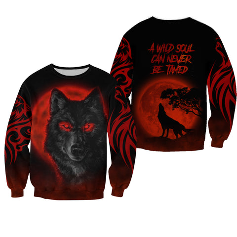 1stIceland The Red Moon Wolf 3D Printed Unisex Sweatshirt TH12 - 1st Iceland
