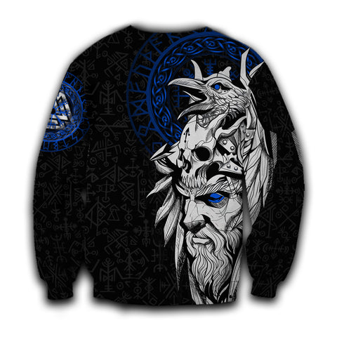 1stIceland Viking Odin And Raven Blue Sweatshirt TH12 - 1st Iceland