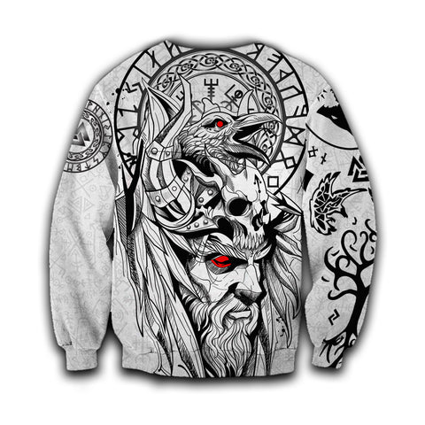 1stIceland Viking Odin And Raven White Sweatshirt TH12 - 1st Iceland
