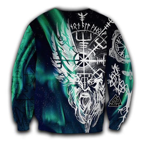 1stIceland Viking Sweatshirt Odin And Northern Lights TH12 - 1st Iceland