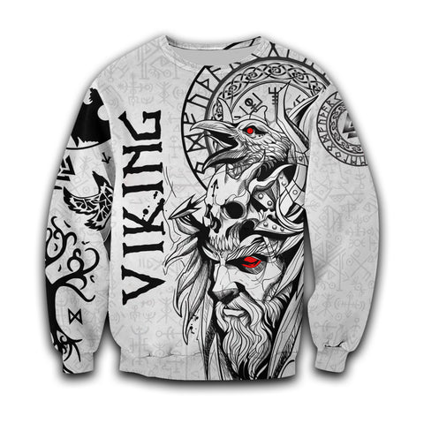 Image of 1stIceland Viking Odin And Raven White Sweatshirt TH12 - 1st Iceland