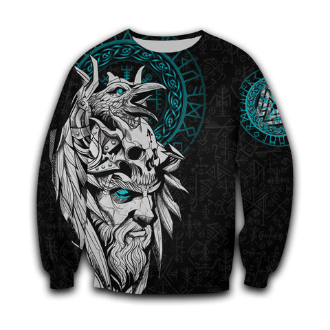 Image of 1stIceland Viking Odin And Raven Turquoise Sweatshirt TH12 - 1st Iceland