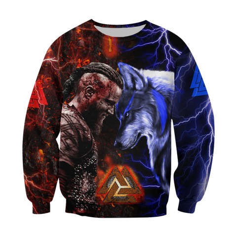 Image of 1stIceland Viking Sweatshirt Ragnar and Wolf TH12 - 1st Iceland