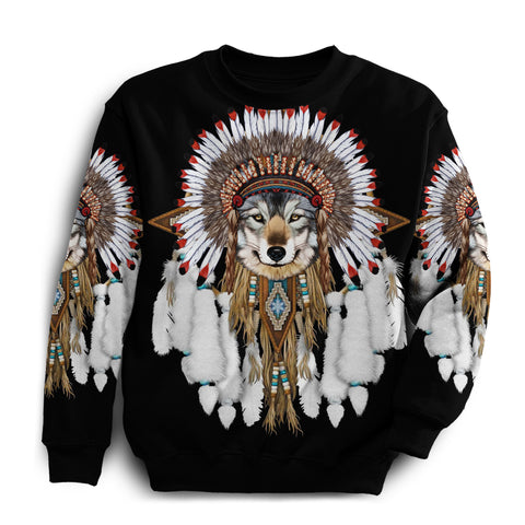 1st Iceland Grey Wolf Native American Sweatshirt TH12 - 1st Iceland