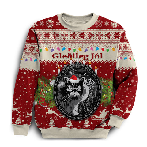1stIceland Iceland Christmas Sweatshirt The Yule Cat Warm Vibes Style - Red K8 - 1st Iceland