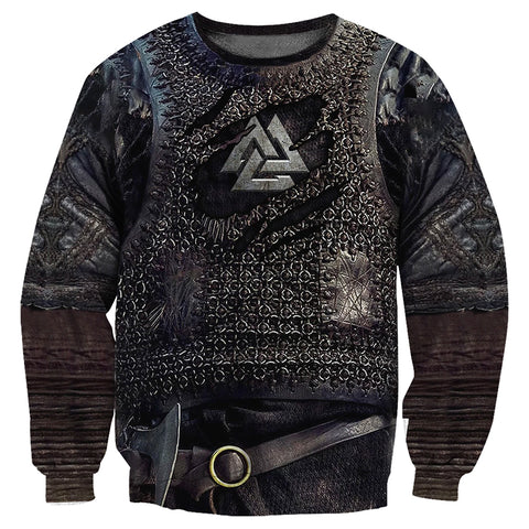 Image of 1stIceland Viking Sweaters, Valknut 3D Viking Armour Th00 - 1st Iceland