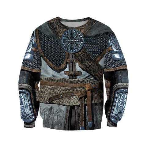 1stIceland Viking Sweaters, 3D Vikings Armor with Helm Of Awe Th00 - 1st Iceland
