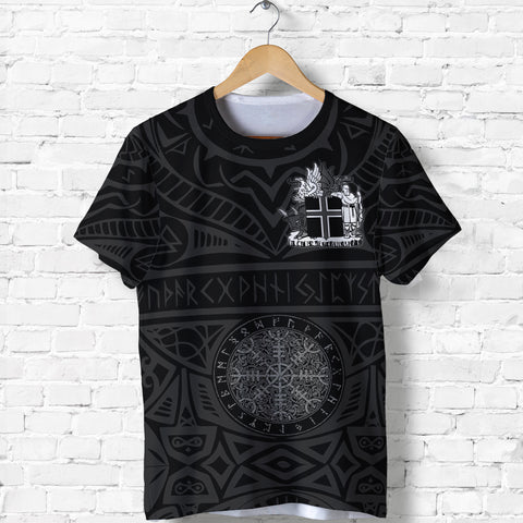 1stIceland Viking T-Shirt, Helm Of Awe Iceland Coat Of Arms Rune K4 - 1st Iceland