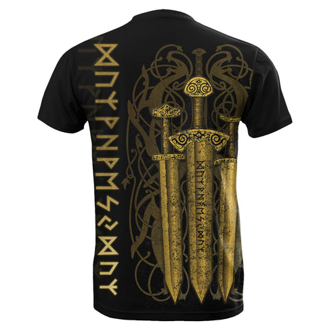 1stIceland Viking Sword T-Shirt Gold TH4