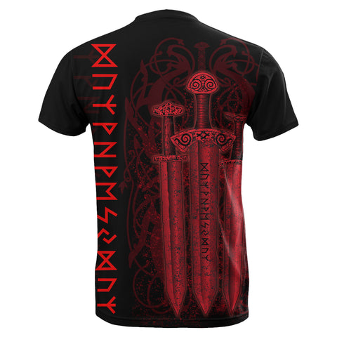1stIceland Viking Sword T-Shirt Red TH4 - 1st Iceland