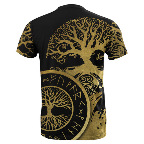 1stIceland Viking Yggdrasil T-Shirt Gold TH4 - 1st Iceland