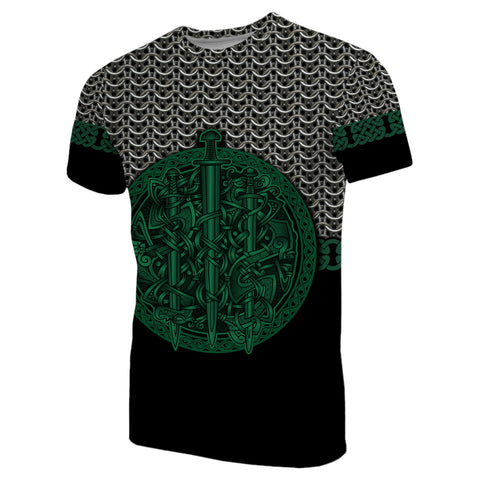 1stIceland Viking Sword T-Shirt Mix Celtic Patterns Green TH4 - 1st Iceland