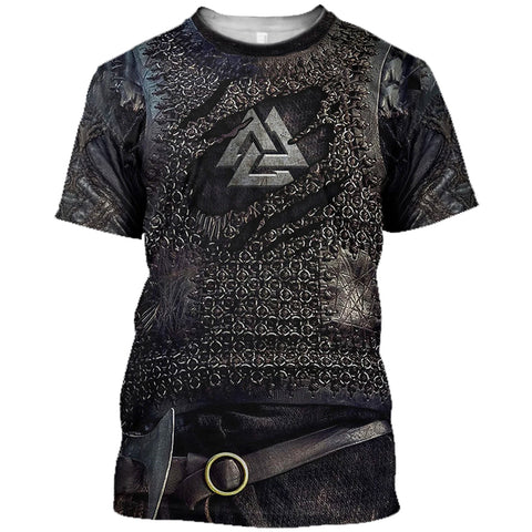 1stIceland Vikings T-Shirt, Valknut 3D Viking Armour Th00 - 1st Iceland