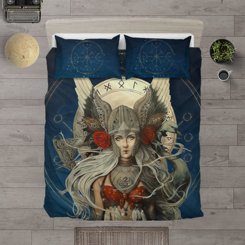 1stIceland Viking Bedding Set, Valkyrie Helm Of Awe Rune Circle, Navy K5