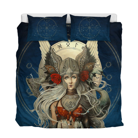 Image of 1stIceland Viking Bedding Set, Valkyrie Helm Of Awe Rune Circle, Navy K5