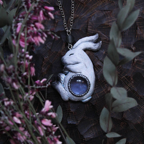 White Hare With Blue Cabochon Necklace TH17 - 1st Iceland