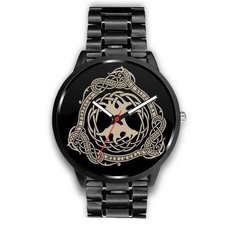 Image of 1stIceland Viking Leather/Steel Watch, Tree Of Life Design Bn02 - 1st Iceland