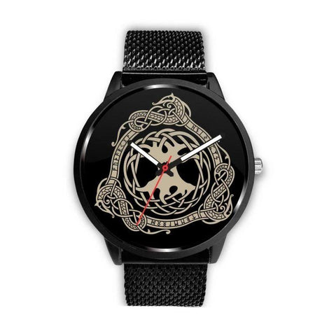 1stIceland Viking Leather/Steel Watch, Tree Of Life Design Bn02 - 1st Iceland