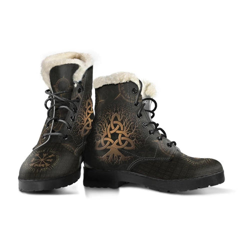 1stIceland Viking Faux Fur Leather Boots, Yggdrasil Vegvisir Runes K7 - 1st Iceland