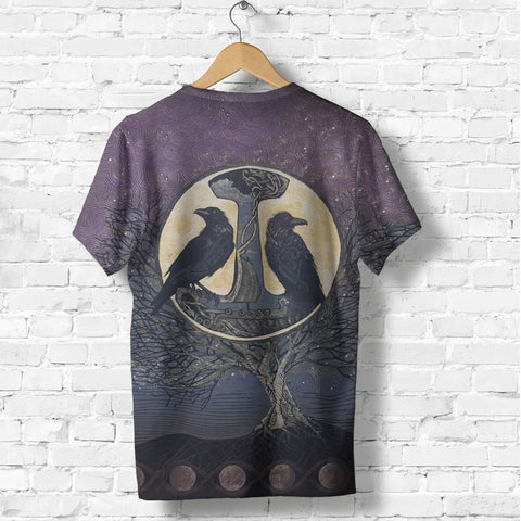 1stIceland Viking T Shirt, Raven And Tree Of Life K5 - 1st Iceland