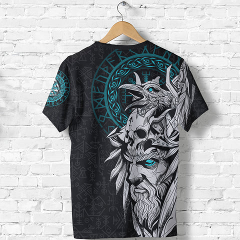 1stIceland Viking Odin And Raven Turquoise T-Shirt TH12 - 1st Iceland