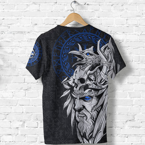 1stIceland Viking Odin And Raven Blue T-Shirt TH12 - 1st Iceland
