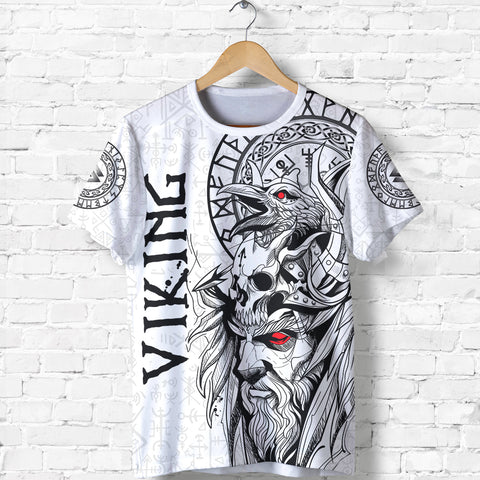 1stIceland Viking Odin And Raven White T-Shirt TH12 - 1st Iceland