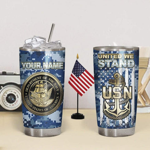 3D US Navy United We Stand Custom Name Design Vacuum Insulated Tumbler K6 - 1st Iceland