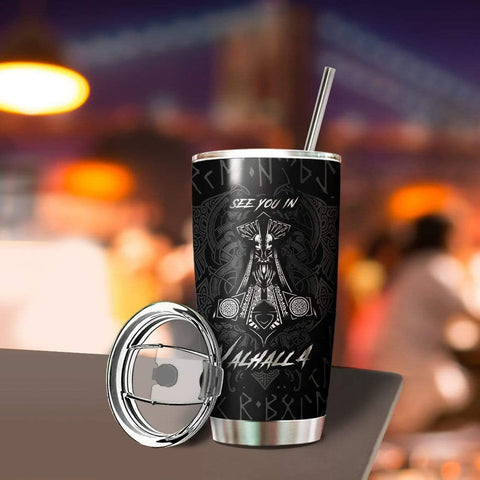 3D Viking Odin See You In Valhalla Custom Design Vacuum Insulated Tumbler K6 - 1st Iceland