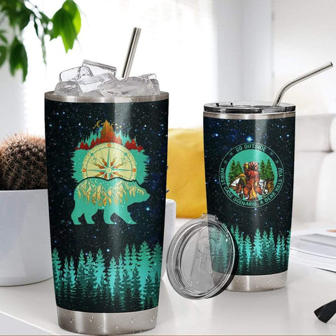 3D Hiking Camping Blue Bear Compass Glitter Custom Design Vacuum Insulated Tumbler K6 - 1st Iceland