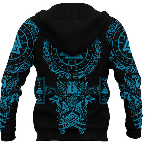 1stIceland Viking Valknut Zip Hoodie Sun Wheel With Mjolnir - Blue K8
