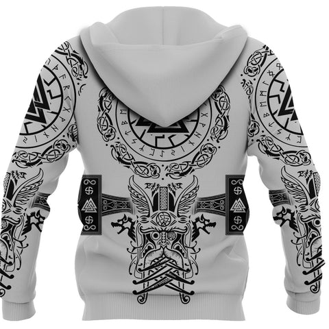 Image of 1stIceland Viking Valknut Zip Hoodie Sun Wheel With Mjolnir - White K8 - 1st Iceland