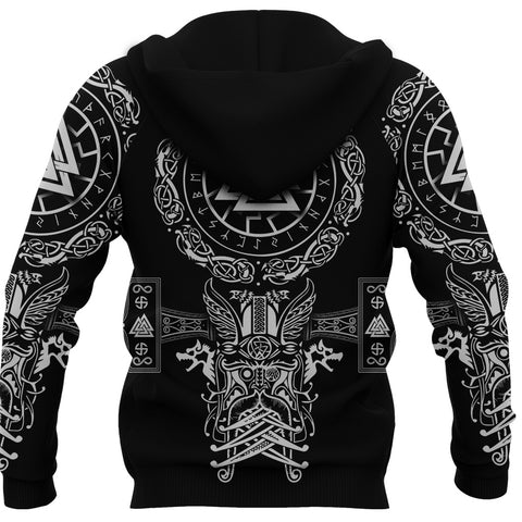 1stIceland Viking Valknut Zip Hoodie Sun Wheel With Mjolnir - Black K8