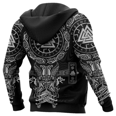 1stIceland Viking Valknut Hoodie Sun Wheel With Mjolnir - Black K8
