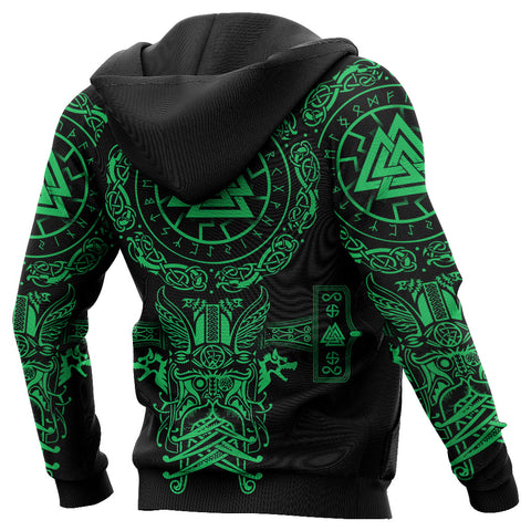 1stIceland Viking Valknut Zip Hoodie Sun Wheel With Mjolnir - Green K8