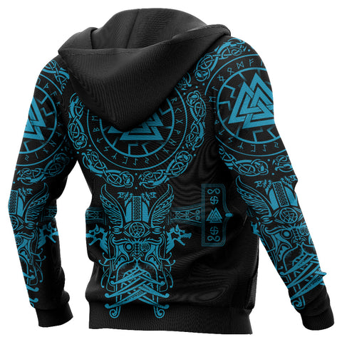 1stIceland Viking Valknut Hoodie Sun Wheel With Mjolnir - Blue K8