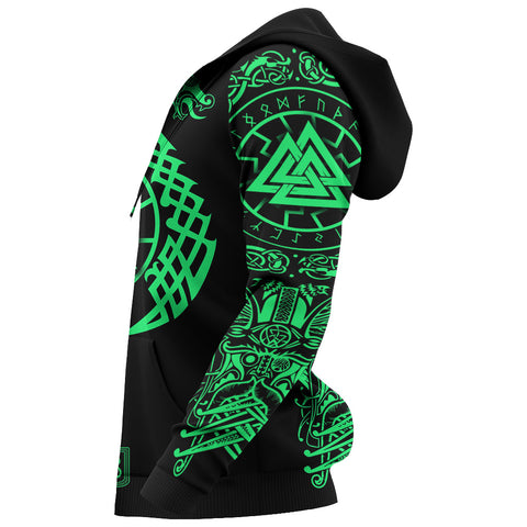 Image of 1stIceland Viking Valknut Zip Hoodie Sun Wheel With Mjolnir - Green K8 - 1st Iceland