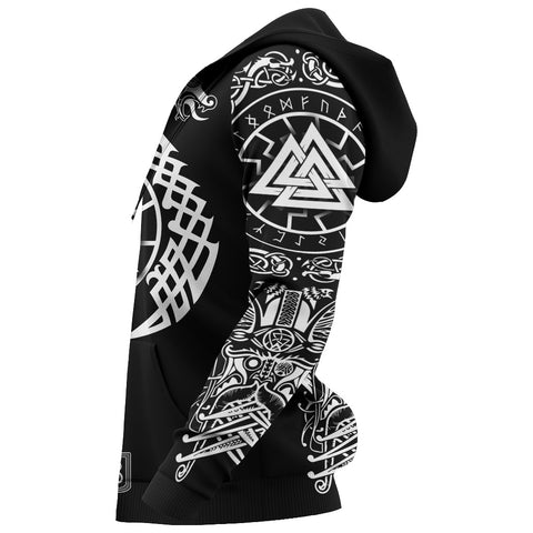 Image of 1stIceland Viking Valknut Hoodie Sun Wheel With Mjolnir - Black K8 - 1st Iceland