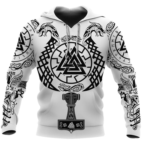 1stIceland Viking Valknut Hoodie Sun Wheel With Mjolnir - White