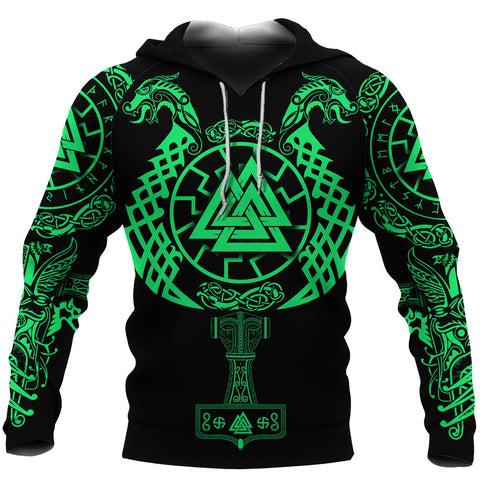 Image of 1stIceland Viking Valknut Hoodie Sun Wheel With Mjolnir - Green