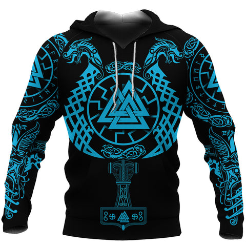 1stIceland Viking Valknut Hoodie Sun Wheel With Mjolnir - Blue